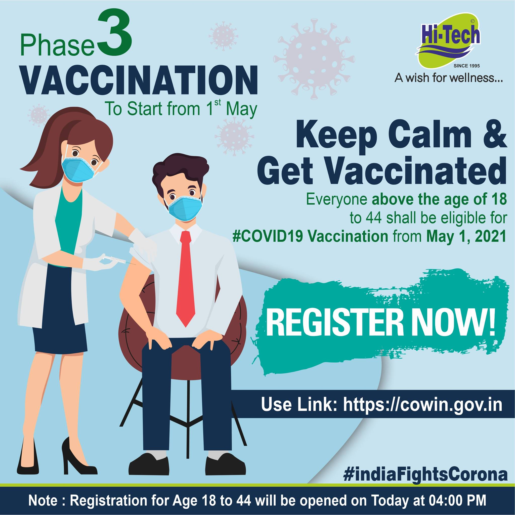 COVID vaccination for the 18+ to 45 year age group